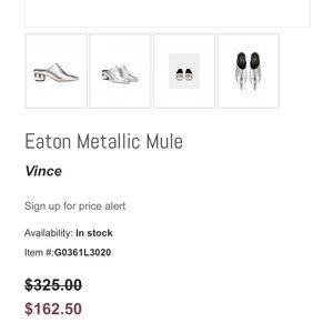 Vince Shoes - Vince Silver Eaton Metallic Sphere Heel Point Mule